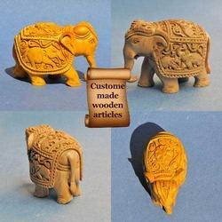 Wooden Carved Indian Elephant - Many Size