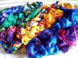 Multicolored Sari Silk Thrums For Spinners, Weavers,