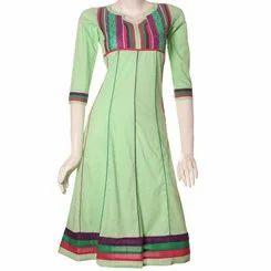 Green+Anarkali+Cotton+Kurti