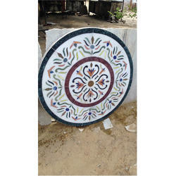 Designer White Marble Chakra Table Tops