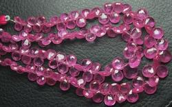 3 X 8 Inches, Pink Sapphire Faceted Heart Shape Briolettes