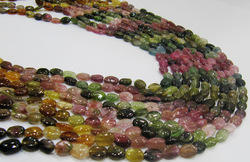multi tourmaline beads oval plain 6x8mm water melon tourmal