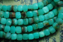 Peruvian Opal Faceted Cube Briolettes