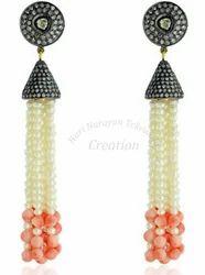 Tassel+Gemstone+Earrings