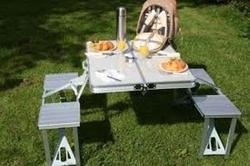Picnic Folding Table with Umbrella