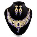 Blue Gold Plated Antique Necklace Set