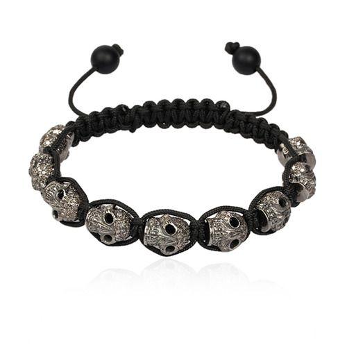 Diamond Skull Beads Macrame Bracelet