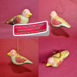 Paper Mache Cutie Bird Holiday Decoration Hanging Ornament