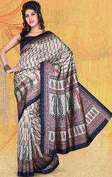 Chikoo+Jacquard+Bhagalpuri+Silk+Printed+Saree+with+Blouse.