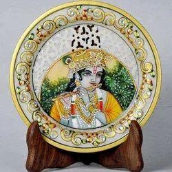 Krishna Rajasthani Miniature Painting on Marble Jali Plate