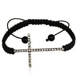Single Row Diamond Cross Macrame Bracelet
