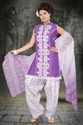 Purple & White Cotton Churidar Patiyala Suit