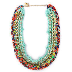 a bright colourful statement necklace