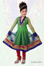 Green Net Masakali with Red Churidar And Blue Net Dupatta