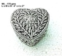 White Metal Box Heart Shape Box