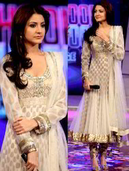 Off White Net Churidar Kameez With Dupatta