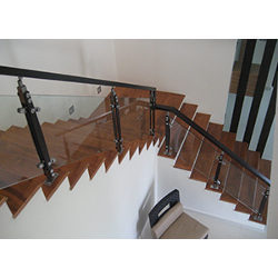 Wooden Balusters Glass Railing