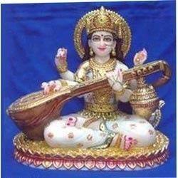 Seated Saraswati Statue Playing The Veena