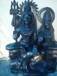 Lord Shiva Parvati Black Granite Stone Statue