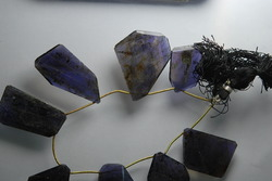 Water Sapphire Iolite Faceted Nuggets, Strand 9 ""