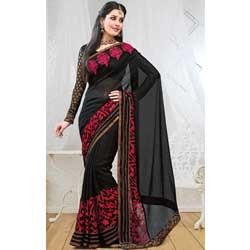Black & Red Brasso Saree