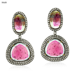 Pave Diamond Multi Tourmaline Gemstone Earrings