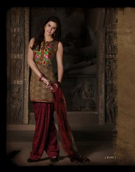 Black Beige Brown Readymade Salwar Kameez