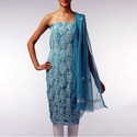 blue chikankari unstitch suit