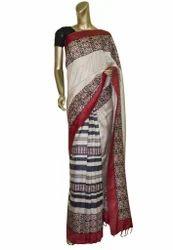 Handloom Red Color Ethnic Tussar Saree