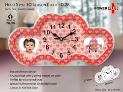 Heart Style 3d Illusion Clock Cum Photo Frame