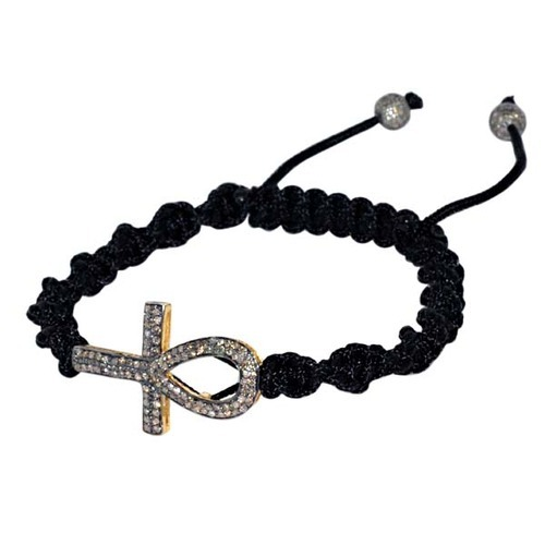 Diamond Ankh Charm Macrame Bracelet