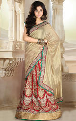 Beige+and+Red+Shimmer+and+Satin+Lehenga+Saree+with+Blouse