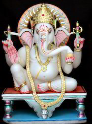 Gold Plated Marble Ganesh Statue