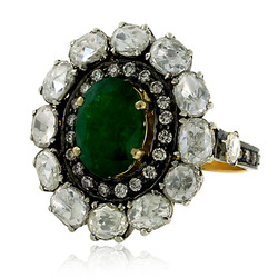 Emerald Gemstone Rose Cut Diamond Rings
