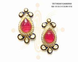 Fancy Victorian Red Earrings