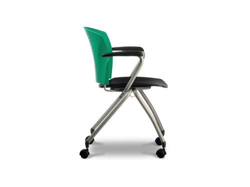 Caddy Fabric Seat Chair with Fixed Arm Rest & Castors