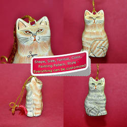Two In One Cat - Paper Mache Holiday Decoration Ornament