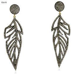 Designer Pave Diamond Leaf Earrings Gold Jewelry