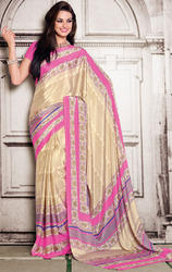 Cream+and+Pink+Color+Art+Silk+Printed+Sarees+with+Blouse