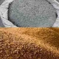 burned and unburned rice husk