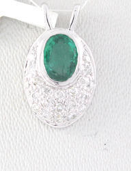 Emerald And Diamond 18K White Gold Pendent