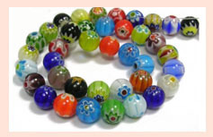 Multi-Colored Millefiori Glass Beads Code : MB-04