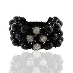 Pave Diamond Beaded Bracelet