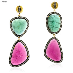 Pave Diamond Gemstones Earrings Jewelry
