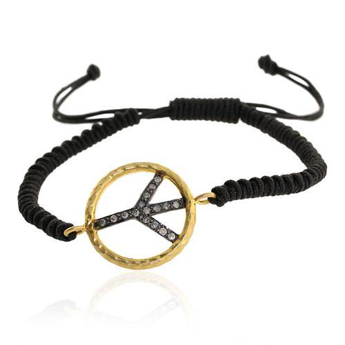 18k Gold Diamond Peace Charm Macrame Bracelet
