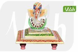 Vaah Beautiful Lord Pagdi Ganesha Big Chowki