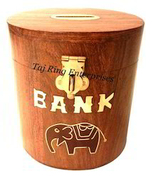 Wooden Elephant Emboss Money Bank