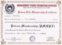 Patron Life Membership Certificate