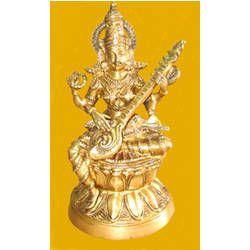 Saraswati Sitting On Lotus Statue
