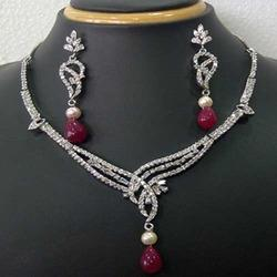 Trendy Diamond Necklace Jewelry Set